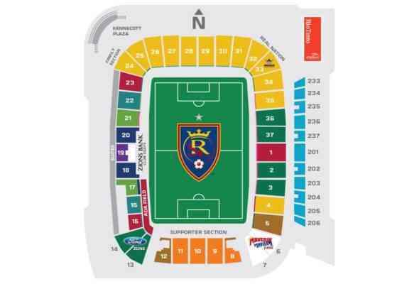 real salt lake stadium map Rio Tinto Stadium A Plan Of Sectors And Stands How To Get There real salt lake stadium map